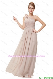 Beautiful Ruched Champagne 8th Grade Graduation Dresses with One Shoulder