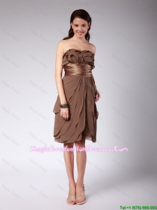 Elegant Ruffles and Belt Short 8th Grade Graduation Dresses in Brown for 2016