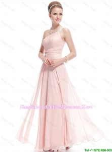 Fashionable Beaded Side Zipper 8th Grade Graduation Dresses in Baby Pink