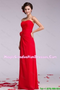 Gorgeous Strapless Hand Made Flowers 8th Grade Graduation Dresses in Red