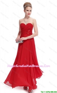Gorgeous Sweetheart Ruched Red 8th Grade Graduation Dresses with Appliques
