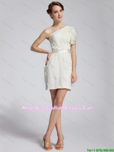 Latest Appliques and Belt 8th Grade Graduation Dresses with One Shoulder