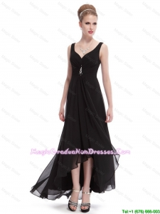 Popular Beaded Straps Black 8th Grade Graduation Dresses with High Low
