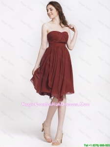 Popular Chocolate Sweetheart 8th Grade Graduation Dresses with Ruching