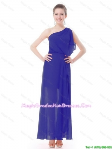 Pretty One Shoulder Blue 8th Grade Graduation Dresses with High Slit