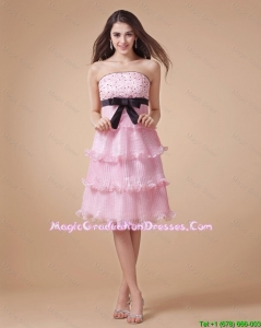 Pretty Strapless Beaded Short 8th Grade Graduation Dresses for Holiday