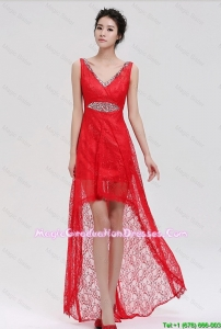 Pretty V Neck Laced and Beaded Red 8th Grade Graduation Dresses with High Low