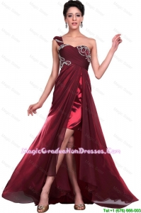 Wonderful One Shoulder Wine Red 8th Grade Graduation Dresses with Beading for 2016