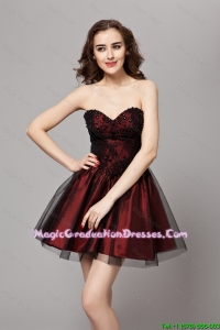 Beautiful A Line Sweetheart Wine Red Graduation Gowns with Beading