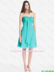Classical Ruched Short 8th Grade Graduation Dresses in Turquoise