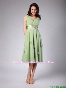 Classical V Neck Empire Hand Made Flowers and Belt Graduation Dresses