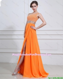 Exquisite Beading and High Slit Orange Graduation Dresses with Brush Train