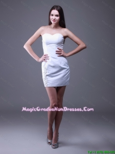 New Style 2016 Sweetheart Mini Lengt Beaded Graduation Gowns in White