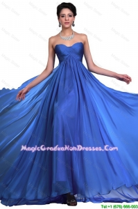 Perfect Sweetheart Ruched Blue 8th Grade Graduation Dresses with Brush Train