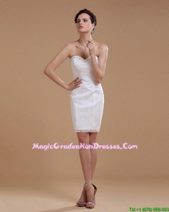 Custom Made Beading Short White Graduation Dresses in Lace