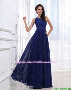Fashionable Empire One Shoulder Graduation Gowns with Beading