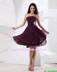 Luxurious Strapless Brown Short Graduation Dress with Appliques