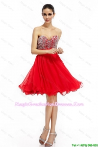 Romantic A Line Sweetheart Beaded Best Graduation Dresses in Red