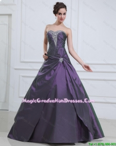 2016 Luxurious Princess Purple Best Graduation Dresses with Beading