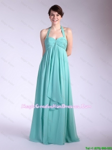 Beautiful Brush Train Turquoise Graduation Dresses with Halter Top