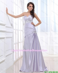 Beautiful Column Elastic Woven Satin Graduation Dresses with Beading