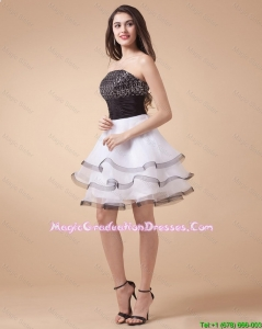 Beautiful Sequined White and Black Graduation Dresses with Mini Length