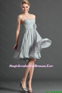 Exclusive Ruching and Hand Made Flower Grey Short Best Graduation Dresses