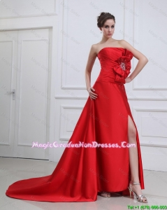 Exquisite Straples Beading and Bowknot Red Graduation Dress with Brush Train