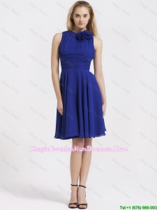 Fashionable Short Royal Blue Graduation Dresses with Hand Made Flowers