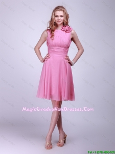 Gorgeous Rose Pink Graduation Dresses with Pleats and Hand Made Flowers for 2016