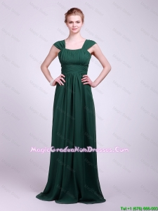 Hot Sale Straps Brush Train Graduation Dresses in Dark Green