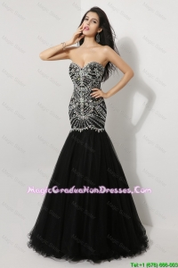 Luxurious Mermaid Sweetheart Beaded Graduation Dresses in Black