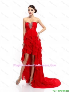 Modern High Low Lace Up Graduation Gowns with Ruffled Layers