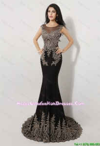 Modern Mermaid Appliques and Beaded Graduation Dresses in Black