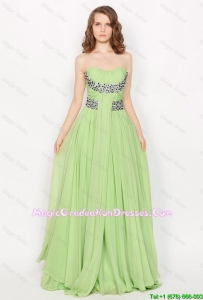 Modern Strapless Brush Train Graduation Dresses in Apple Green