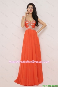 New Arrivals Brush Train Graduation Dresses with High Slit and Beading