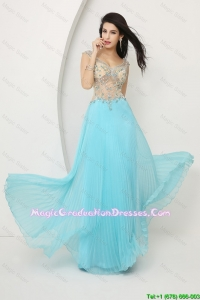 Perfect Beaded Straps Zipper Up Graduation Dresses with Cap Sleeves