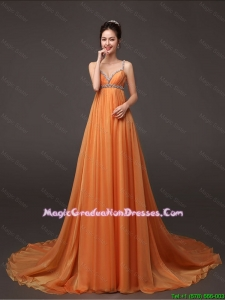2016 Fashionable Court Train Graduation Dresses with Beading and Ruching