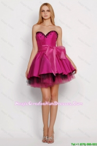 2016 Modest A Line Sweetheart Graduation Dresses with Sashes in Fuchsia