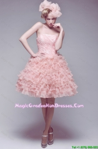 Classical Ball Gown Ruffled Layers Graduation Gowns with Strapless