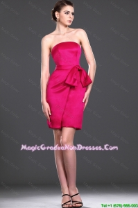 Exquisite Bowknot Red Short Graduation Dress in Taffeta for 2016