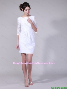 Fashionable Column Bateau Laced Half Sleeves Graduation Dresses in White