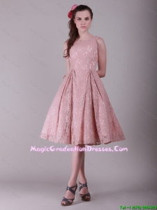 Fashionable Ruching Lace Graduation Dresses in Peach for 2016