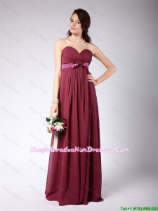 Gorgeous Sweetheart Burgundy Graduation Dress with Belt and Bowknot