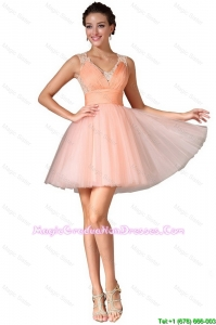 Luxurious V Neck Graduation Gowns with Lace and Ruching