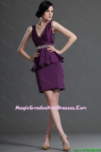 Modern Popular V Neck Short Eggplant Purple Graduation Dresses with Beading