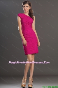New Arrival One Shoulder Short Graduation Dresses with Ruching