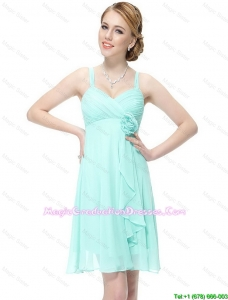 New Style Short Hand Made Flowers Graduation Dresses with Straps
