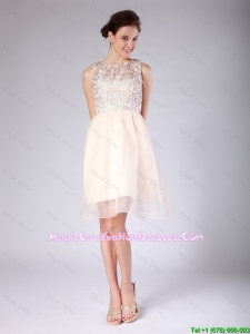 Pretty Lace Scoop Short Baby Pink Graduation Dresses for 2016