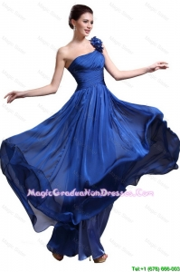 Pretty Royal Blue One Shoulder Graduation Dresses with Appliques and Ruching